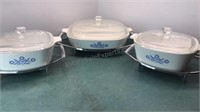 Set of 3 Corningware Covered Dishes with Metal