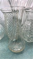"""Collection of Clear Glass Vases tallest is 10"""""""