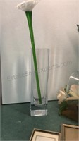 """Glass Basket 11"""" Tall with Artificial Flowers"""