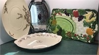Vintage Serving Trays Glass, Metal and Ceramic