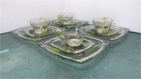 """Set of 4 Painted Glass Cups, Saucers and 8"""""""