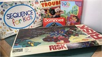 Collection of Games Risk Trouble Dominoes