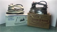 2 Vintage Electric Steam Irons Not Original Boxes