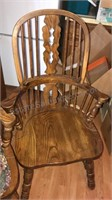 "4 Wood Dining Chairs w/Arms and Pads 42"" Tall"