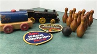 Antique Table Top Wooden Bowling Game, Toy Train