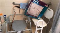 Collection of Elder Assist Items Shower Chair