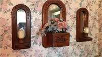 3 pc Wood and Mirror  Wall Decorative Set 17 and