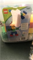 Plastic Child's Chair and  Bin of Duplo Legos and
