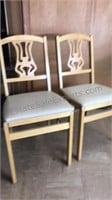 """2 Vintage Wooden """"Stackmore"""" Folding Chairs"""