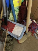 Collection of Brooms, mops and other household