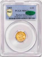 G$1 1861 PCGS MS67+ CAC