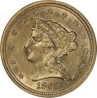 $2.50 1861-S PCGS AU58 CAC