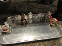Candle holders, tooth pick holders, shoes