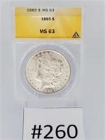 1885 Morgan Dollar MS 63
