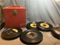 (35)+ 45 Records with Vintage Case