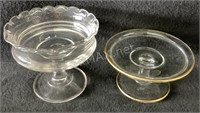(2) Glass Candle Trays