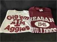 1-Aggies and 1- Reagan Bulldogs T-Shirts