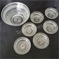 Glass Serving Bowl & (6) Dessert Bowls
