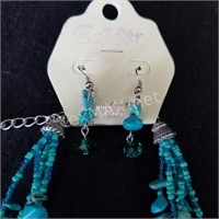 Turquoise and Bead Necklace Set