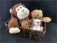 Lot of 4-Stuffed Animals and Wicker Basket