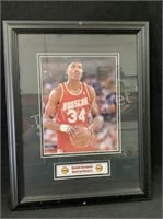 Framed Hakeem Olajuwon Picture  14 in x 18 in