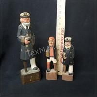 (3) Hand Carved Peg-legged Men