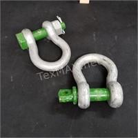 (2) Green Pin Bow Shackles