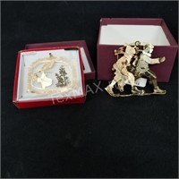 (2) 24k Gold Flashed Brass Ornaments