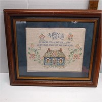 Matted and Framed Cross Stitch Wall Art