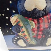 New Black Bear with Fish Cookie Jar