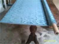 2 2/3 yards Teal Coloured Cut Velvet Frabric