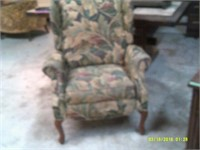 Lovely Large Wing Back Chair - Flip Up Foot Rest
