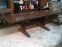 Antique Pegged Trestle Dining Table - 96 x 38 x 29