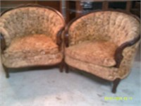 """Two Comfortable Ornate Tub Chairs 24"""" Wide Seat"""