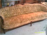 Ornate Upholstered Cut Velvet Couch - Matches 53