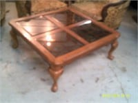 """39"""" Square Coffee Table With Smoked Glass Inserts"""