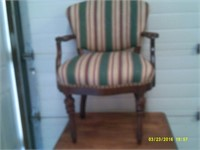 Solid Arm Chair - Striped Upholstery