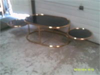 Brass & Smoked Glass Coffee Table - 38 x 24