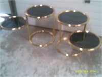 "2 Brass & Smoked Glass End Tables - 18"" Dia"