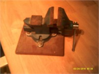 """Rotating Vise Mounted On 8 """" Sq Wooden Base"""