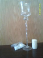 "19"" Tall Clear ""Broken Ice"" Glass / White Candle"