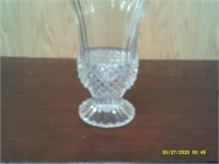 Heavy Glass Vase With Gold Rim - 9 H x 5.75 dia