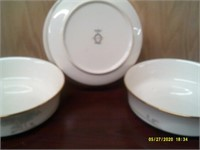 Set Of 3 Noritake Blue & Gold Serving Dishes
