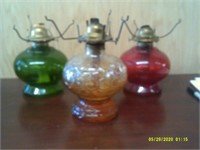"""3 oil Lamps - 8-9"""" Tall"""