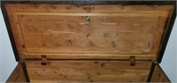 Beautiful Antique Cedar Carved Woode Trunk