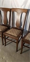 Lot of 4 Antique Pinned Bottom Oak Chairs #1