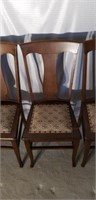 Lot of 4 Antique Pinned Bottom Oak Chairs #2