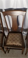 Lot of 4 Antique Pinned Bottom Oak Chairs #3