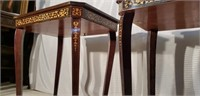 Pair of Beautiful Inlaid Side Music Box  Tables