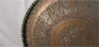 Awesome Vintage Hand Carved Heavy Copper Tray